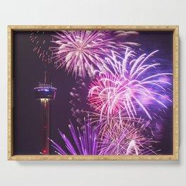 fireworks in san antonio - texas Serving Tray