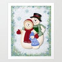Snowman and Family Glittered Art Print