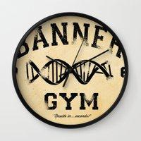 gym Wall Clocks featuring Banner Gym by Mitch Ethridge