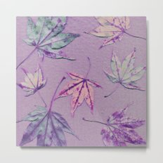 Japanese maple leaves - cerise and pistachio green on light purple Metal Print