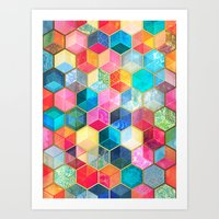 bohemian Art Prints featuring Crystal Bohemian Honeycomb Cubes - colorful hexagon pattern  by micklyn