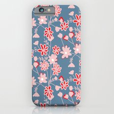Red-Pink Flower Pattern Slim Case iPhone 6s