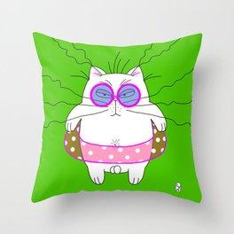 Big cat on the beach green Throw Pillow