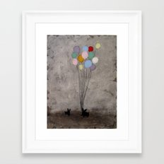Bunnies with Balloons Framed Art Print