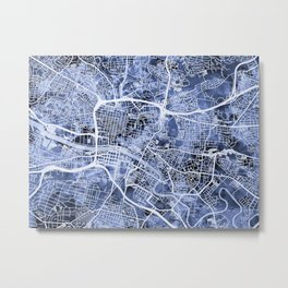 Glasgow Scotland Street Map Metal Print