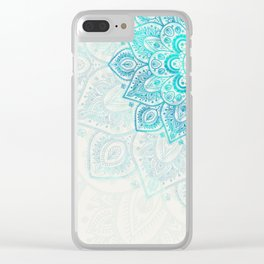Turquoise Flower Mandala Clear iPhone Case
