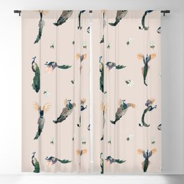 Pink Peacocks Blackout Curtain