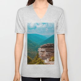 Blackwater River Canyon Overlook West Virginia Landscape Mountains Unisex V-Neck