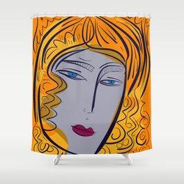 Orange purple pop girl portrait Shower Curtain