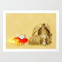 Dragon making Tea Art Print