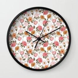 Muted Florals - 70s floral, rose, sunflower, daisy, feminine flowers, flower print Wall Clock