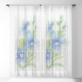Veronica, Floral Watercolor Sheer Curtain