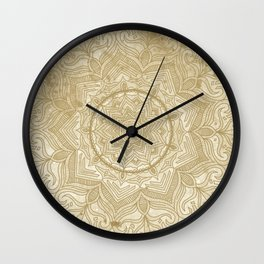 tan splash mandala swirl Wall Clock
