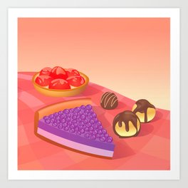 Cream & Berries Art Print