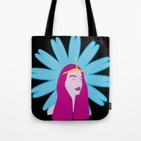 princess bubblegum Tote Bags featuring Princess Bubblegum by nilvohs designs