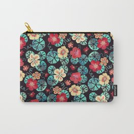 Watercolor Nasturtiums: In the Still of the Night Carry-All Pouch