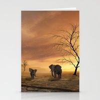 elephants Stationery Cards featuring Elephants by Susann Mielke