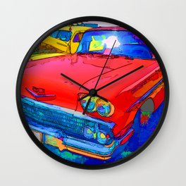 Front view of red retro car Wall Clock