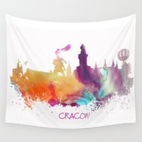 poland Wall Tapestries featuring Cracow Poland skyline by jbjart