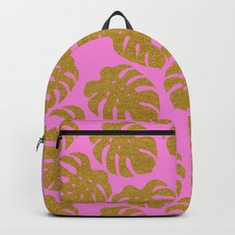 Monstera Deliciosa Gold Silhouette Pattern Backpack