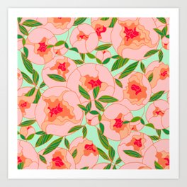 Painted Camelias Art Print
