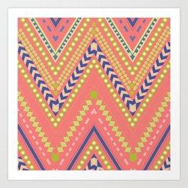 ZigZags in pink & blue Art Print