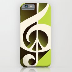 Lime Green Retro Music & Peace  Slim Case iPhone 6s