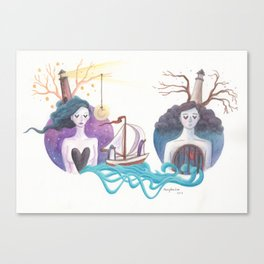 Girl With Dreamy Lighthouse Sending Ocean to Boy with Caged Heart Canvas Print