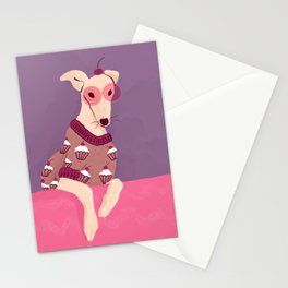 Cherry on Top - Greyhound Wearing a Cupcake Patterned Sweater Stationery Cards
