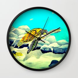Colorful Sea Turtle Under The Blue Ocean Wall Clock