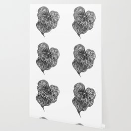 Midori Anthurium Pencil Drawing Black White Heart Wallpaper