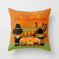 thanksgiving Throw Pillows featuring Thanksgiving by BLOOP