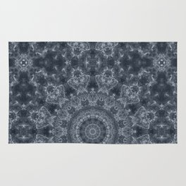 Gray - blue marble kaleidoscope, ornament elements print Rug