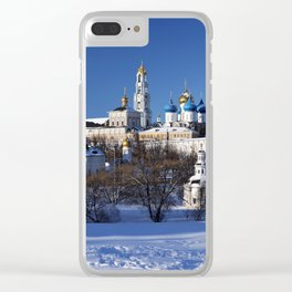 Sergiev Posad monastery (lavra) at sunny winter day Clear iPhone Case
