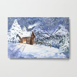 Little wooden house in winter forest Metal Print