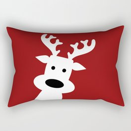 Reindeer on red background Rectangular Pillow