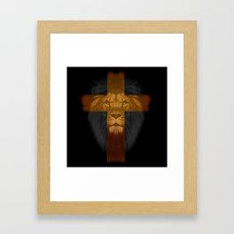 Lion Jesus Cross Framed Art Print