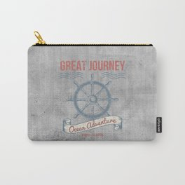 Maritime Design- Great Journey Ocean Adventure on gray abstract background Carry-All Pouch