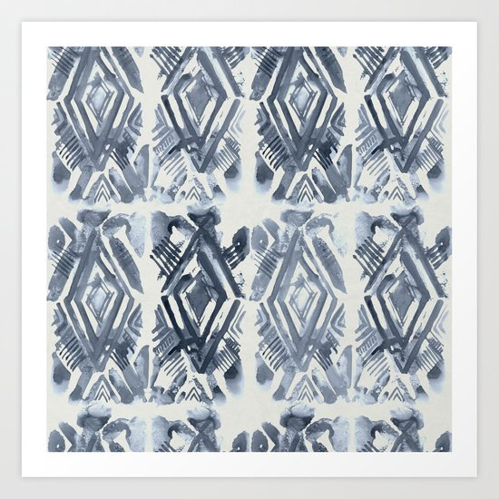 Simply Ikat Ink in Indigo Blue on Lunar Gray Art Print