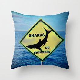 Shark,no swim Throw Pillow