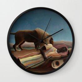 The Sleeping Gypsy by Henri Rousseau Wall Clock
