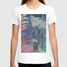 'Blue Sparks Fly' lovers winter landscape painting by Marianne von Werefkin T-shirt