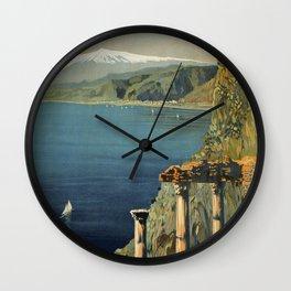 Vintage Taormina Sicily Italian travel ad Wall Clock