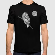 Owl, See the Moon (bw) Black MEDIUM Mens Fitted Tee