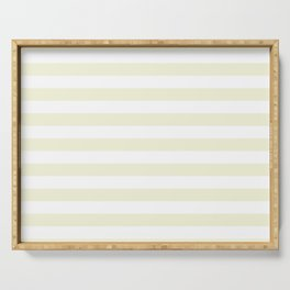 Ivory Cream and White Horizontal Beach Hut Stripes Serving Tray