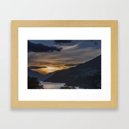 Sunset on Queenstown and Lake Wakatipu Framed Art Print