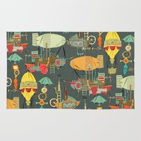 aviation Area & Throw Rugs featuring steampunk sky dark by Sharon Turner