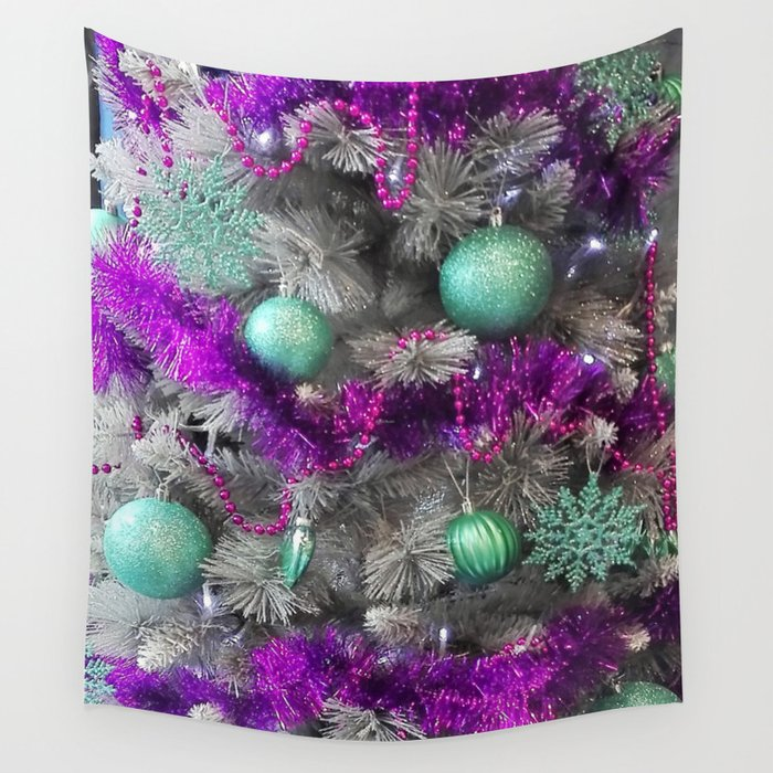 Christmas tree violet with mint Wall Tapestry
