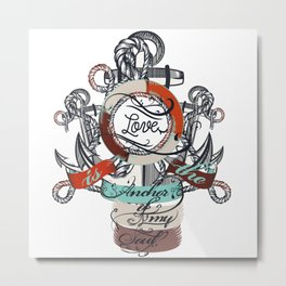 Beautiful marine design, vacation theme with anchor Metal Print