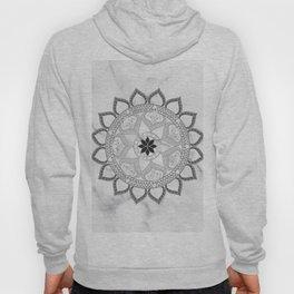 Bohemian New Age Yoga Zen Lotus Flower White Marble Grey Mandala Hoody